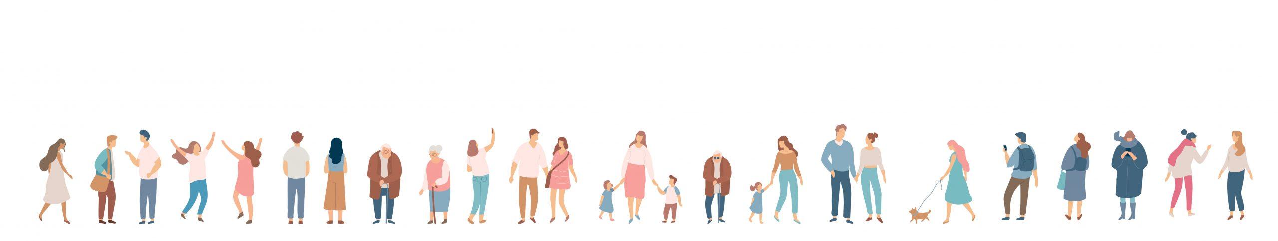 People crowd. Background people vector horizontal banner. Men and women, parents, kids walking outdoor.